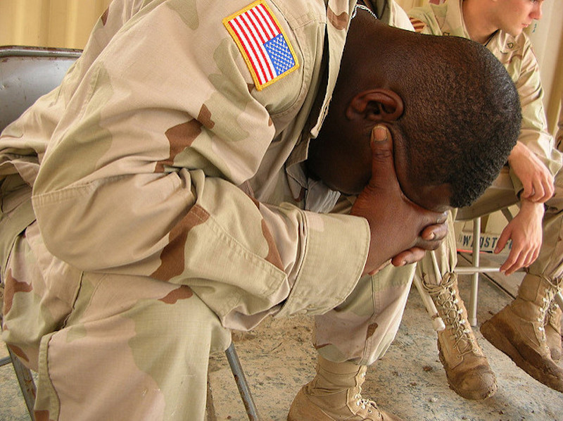 struggling soldier, PTSD
